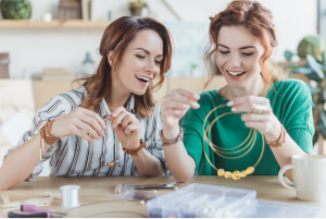 Beading, crafting, jewelry-making with friends